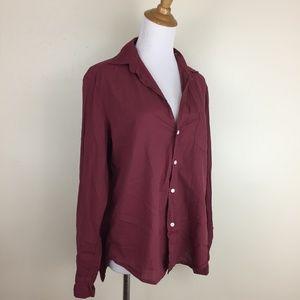 NWOT FRANK & EILEEN High Low Italian Cotton Shirt